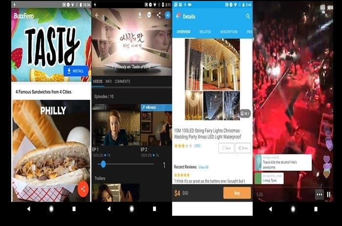Pruebas de Instant Apps para BuzzFeed, Wish, Periscope y Viki.