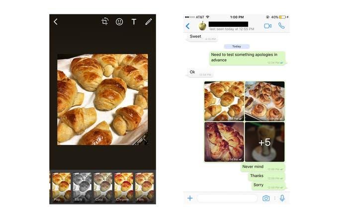 Filtros disponibles en WhatsApp