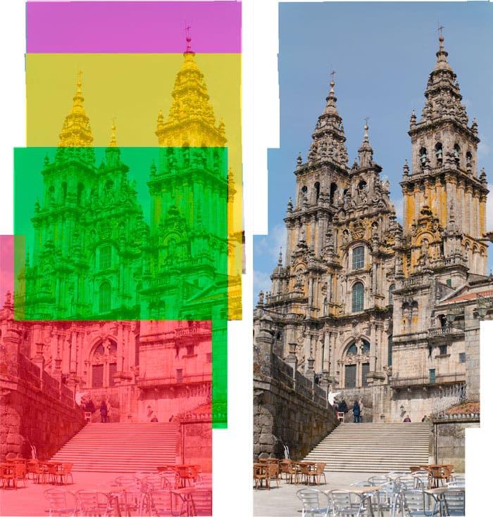 Esquema de unión de las imágenes que componen la fachada de la catedral de santiago
