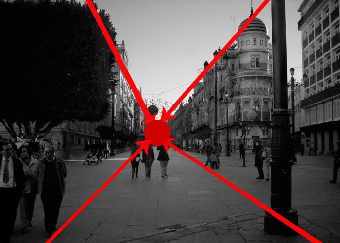 Calle con indicaciones punto de fuga