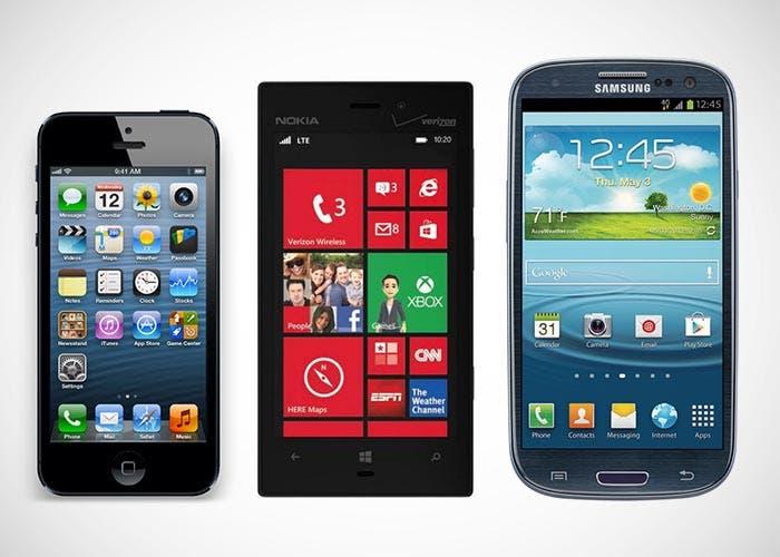 Nokia¡ Lumia 928, iPhone 5 y Samsung Galaxy Galaxy S3