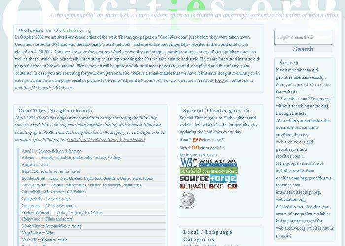 OoCities, web que recoge el contenido de GeoCities